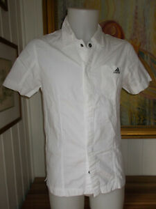 Chemise-coton-blanc-ADIDAS-XS-38-manche-courte-brode-boutons-pressions