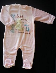 30e265733cc0d Pyjama velours rose Bébé Ours polaire bébé fille 12 MOIS