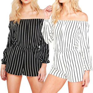 Ladies-Stripe-Playsuit-Bardot-Off-Shoulder-Long-Sleeve-Jumpsuit-Romper-Shorts