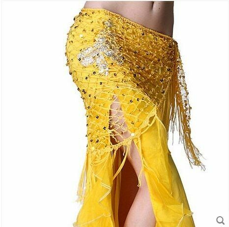 Belly Dance Skirt Costumes Sequins Women Hip Scarf Acetate Dancing Wrap Belts