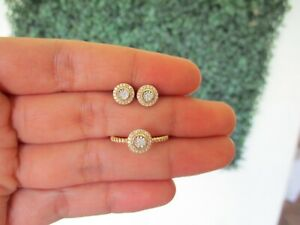 SALE‼️.186 CTW Diamond Earrings & Ring Set Twotone Gold JS129YG sep