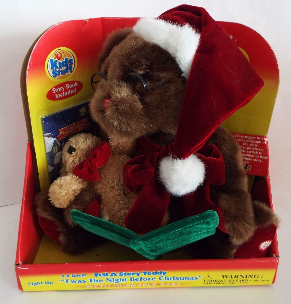 Neuf 35.6cm Tell une Histoire Teddy   Twas The Night Before Christmas   + Baby &