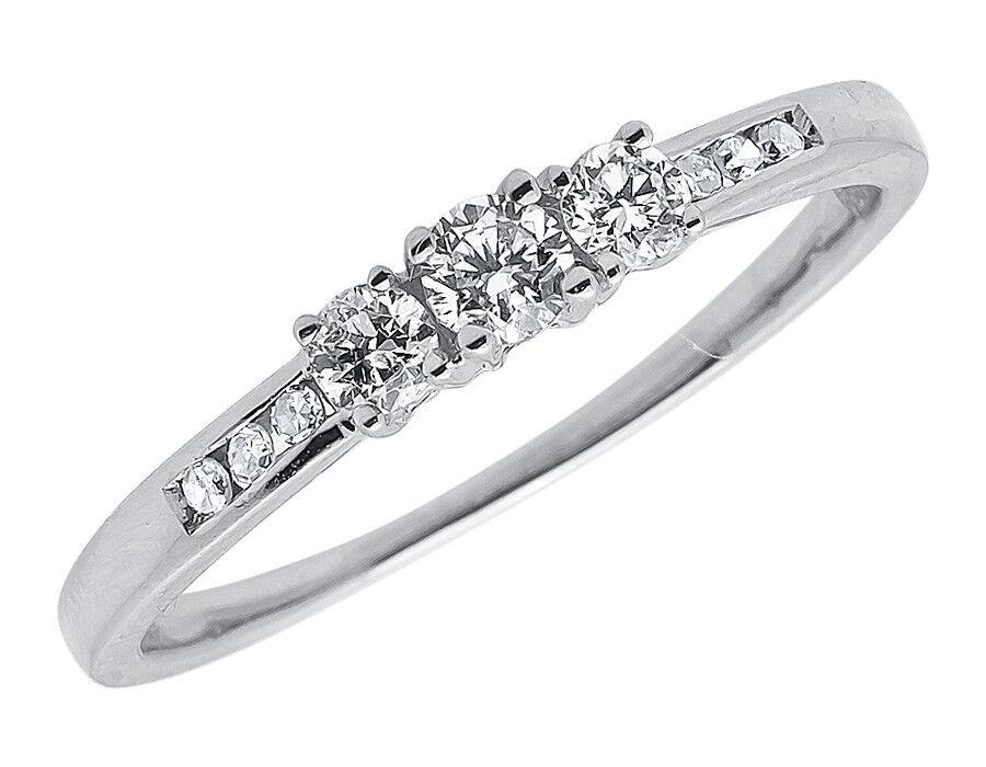 14K White gold Ladies 3 Stone Round Diamond Engagement Anniversary Ring .25 Ct