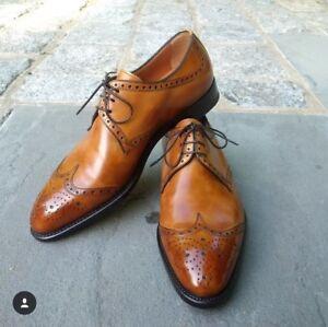 Details about Handmade New Men\u0027s Tan Color Shoes, Men\u0027s wingtip Lace Up  Leather Formal Shoe