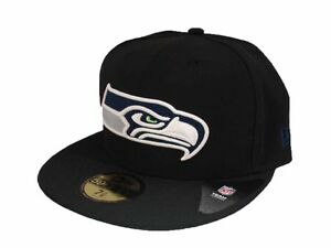69e310fc7 Details about Seattle Seahawks Fitted Cap New Era Hat 59FIFTY NFL Football  5950 Black/Team