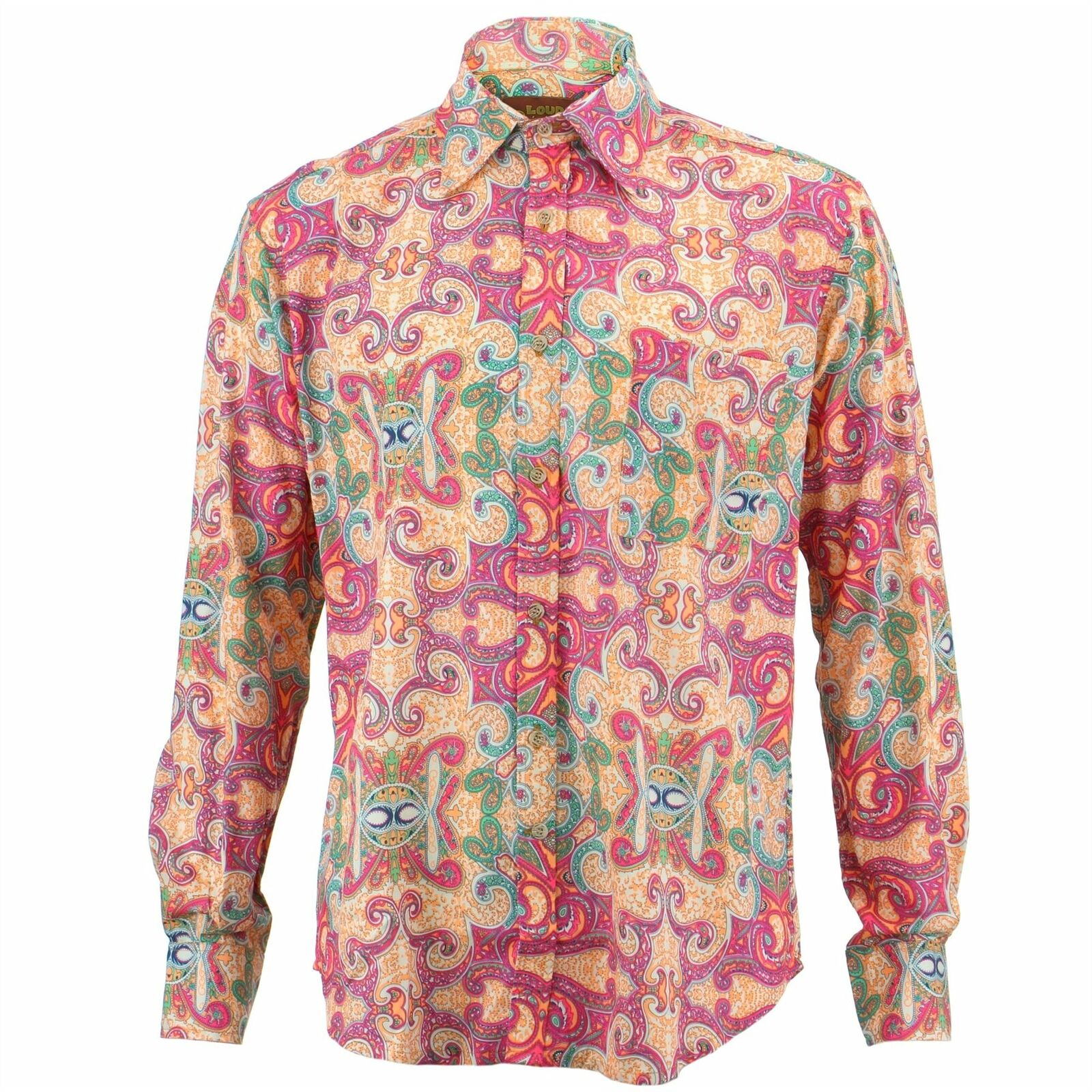 a723c8d1 Mens Shirt Loud Originals REGULAR FIT Boho Pink Retro Psychedelic Fancy