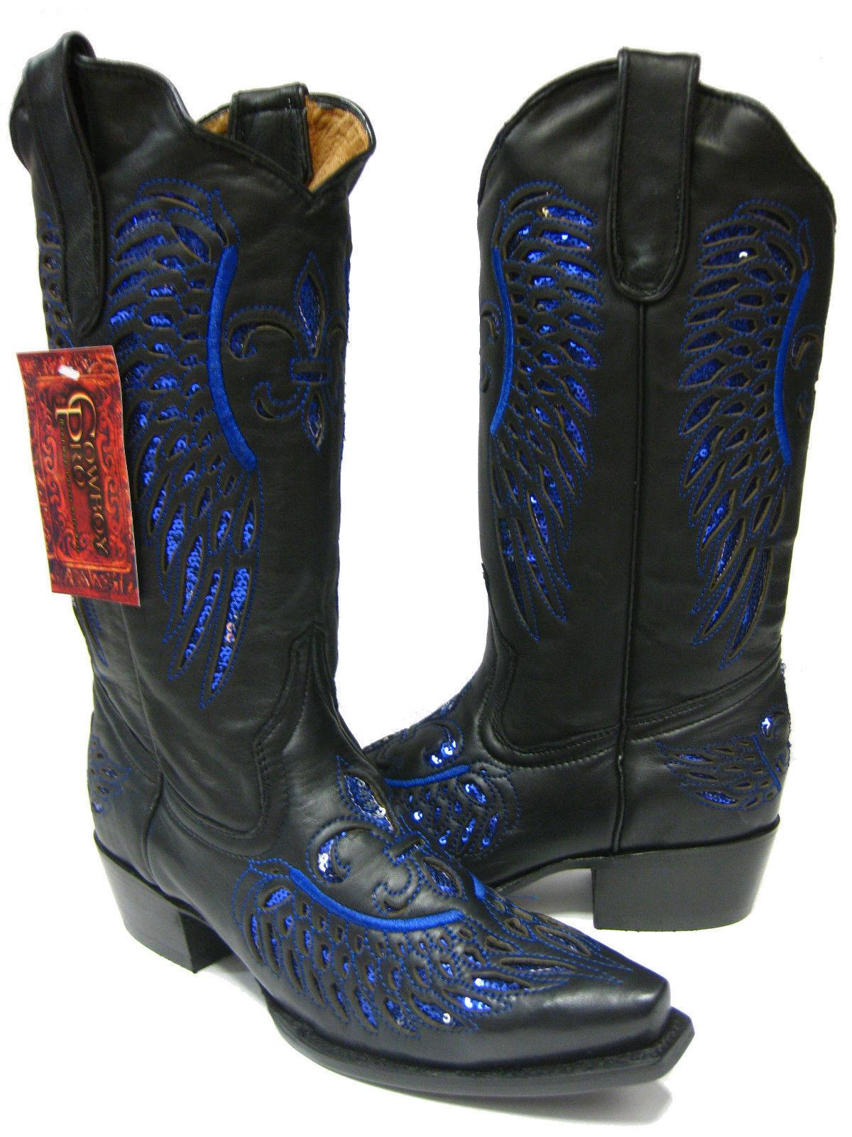Para mujeres botas Cuero Flor embutido Azul Lentejuelas Negro botas mujeres De Vaquero desgaste SNIP Toe e5a7be