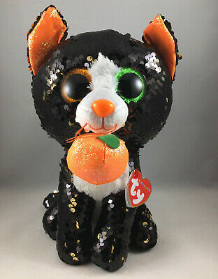 2019 TY FLIPPABLES JINX Halloween Cat Color Changing Sequins Medium 9/""