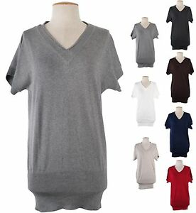 Sexy-V-Neck-Short-Sleeve-Fitted-Tunic-Pullover-Sweater-Knit-Top-Bodycon-Dress
