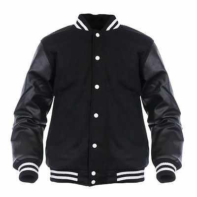 Varsity Letterman Wool Jacket with Leather Sleeves