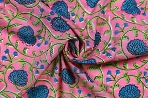 Indian-5-Yard-Cotton-Natural-Sewing-Block-Hand-Print-Printed-Dressmaking-Craft