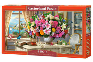 """Brand New Castorland Puzzle 4000 SUMMER FLOWERS AND CUP OF TEA 54"""" x 27""""C-400263"""