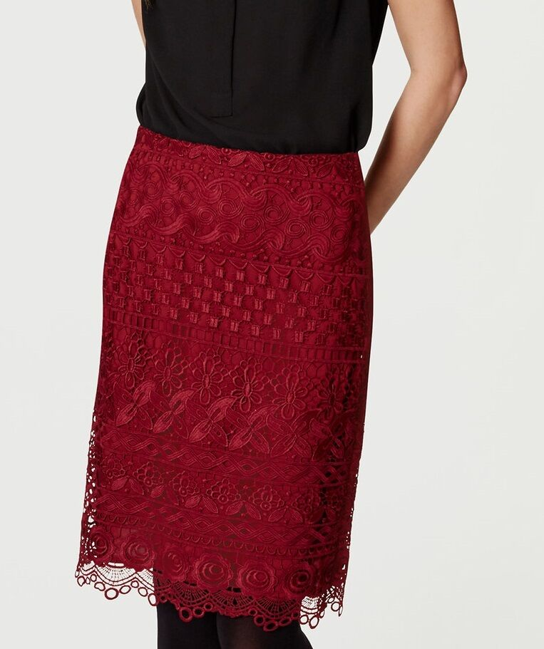 Ann Taylor LOFT Floral Lace Pencil Skirt Size 0 NWT Radiant Crimson color