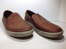 Ecco Mens Size 7 EU 41 Gary Brown Casual Leather Slip On Shoes Loafers ZE-1926
