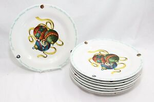 Atico-Yuletide-Traditions-Xmas-Ornaments-Dinner-Plates-10-5-034-Lot-of-8