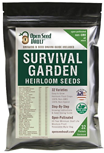 15,000 Non GMO Heirloom Vegetable Seeds Survival Garden 32 Variety Pack by Open