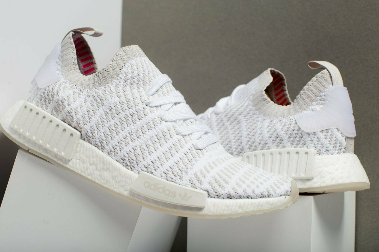 170 New Adidas NMD_R1 STLT Primeknit shoes Running Ahtletic Street White-Grey