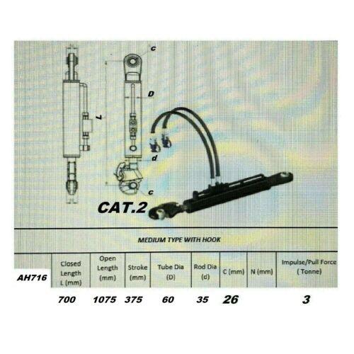 Hydraulischer Oberlenker Kat.2  Fanghaken 2x Hydraulikschlauch//Pneumatisch#