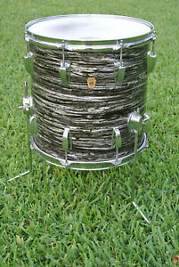 1966-Ludwig-CLASSIC-14-034-BLACK-OYSTER-PEARL-FLOOR-TOM-for-YOUR-RINGO-DRUM-SET