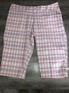 Adidas-Women-039-s-Size-14-ClimaLite-Pink-Plaid-Cropped-Pants-Long-Shorts-D1