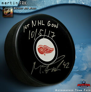 Martin Frk signed Detroit Red Wings Puck with 1st Goal Inscription ... 7ae2f8bc3