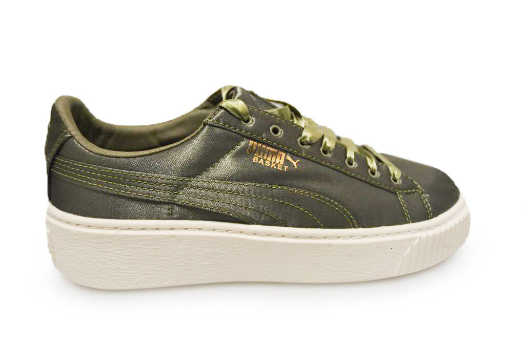 Womens Puma Basket Platform Satin - 36571903 - Green White Trainers
