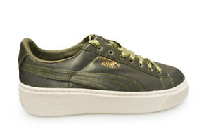 new product 8246d 2fb23 Details about Womens Puma Basket Platform Satin - 36571903 - Green White  Trainers