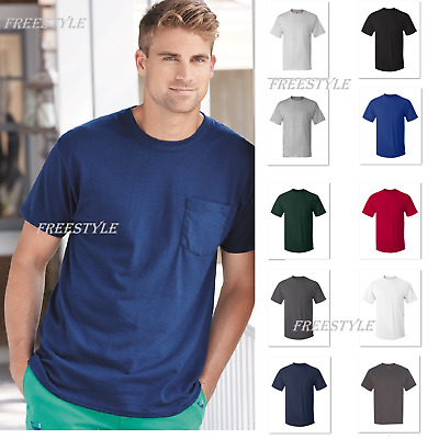 Mens Hanes Black Pocket T-Shirt 8-Pack Comfort Soft 100/% Cotton!!