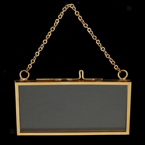 Antique Wall-hanging Clear Glass Hanging Frame Picture Frame w// Hook+Chain