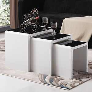 f1cdcf741cf2c High Gloss White Nest of 3 Set Coffee Table Side End Table Living ...
