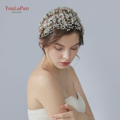 YouLaPan HP240-G Golden crystal wedding hair jewelry rhinestone wedding tiara