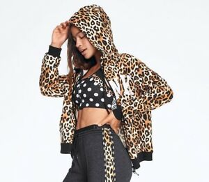 Leopard Faux Pink Fur Black Hood M Secret Lined Slouchy Victoria's Hoodie Zip wxSvq4tf