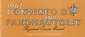 Details about CANADIAN 1967 Ford Econoline Owners Manual Van Falcon Club  Wagon Pickup