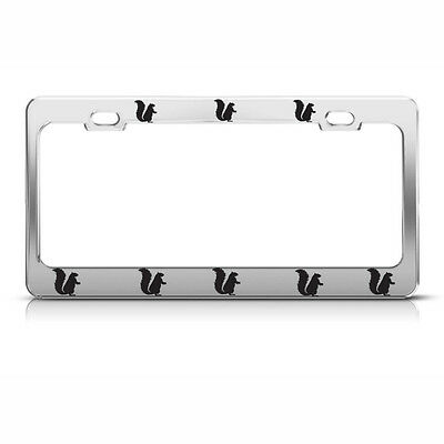 SQUIRREL Chrome Heavy Duty Steel License Plate Frame Tag Holder