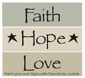 Image Is Loading  Pc Word Stencil Faith Hope Love Stars
