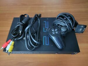 Black Sony PlayStation 2 PS2 Console, cables and Controller - Fat - Tested Works