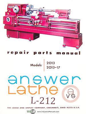 Lodge /& Shipley Model X Lathe Repair Parts Manual