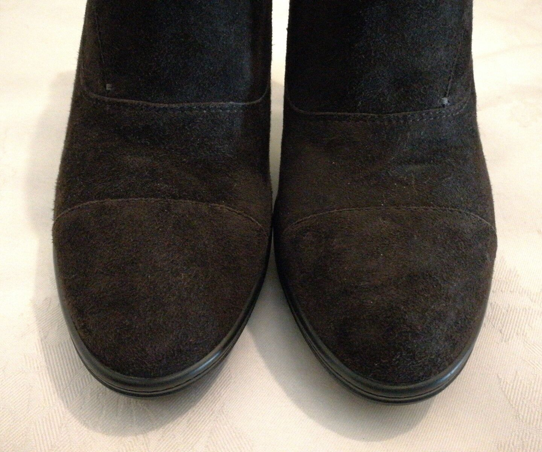 TOD'S Suede Heels Zip Brown Suede Shoe Boots Chocolate Brown Zip   Made in  Italy b255ca