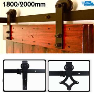 Quincailleri Kit de Rail pour Porte Coulissante Kit de Rail Roulette pour Porte Coulissante Ensemble Industriel Hardware kit pour Une Porte Suspendue 1830 mm