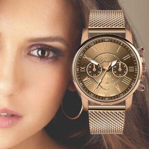 Nuevo-para-mujer-senoras-Reloj-de-Acero-Inoxidable-de-Lujo-Cuarzo-Relojes-de-Pulsera-Esfera-causal