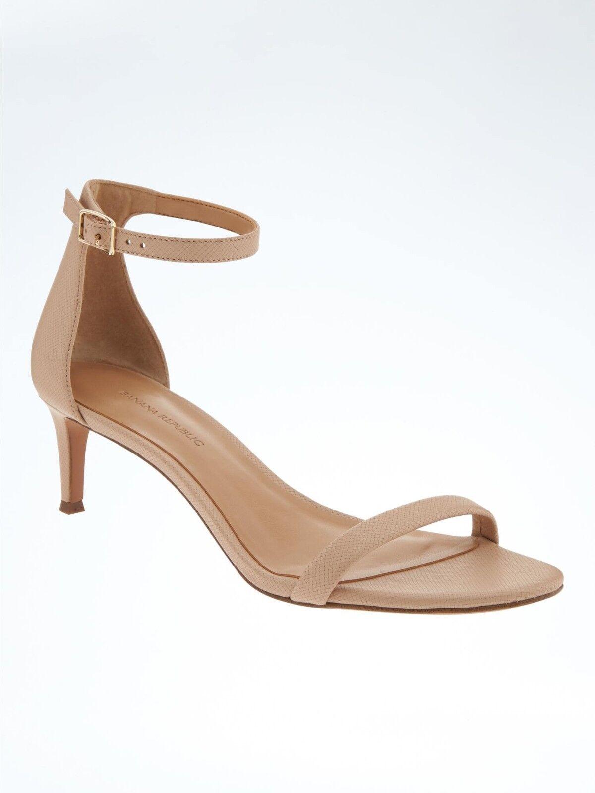 Banana Republic Bare Kitten Heel Sandale, Beige Leder SIZE 5 M   #590158 E85