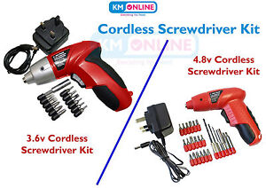 3.6V CORDLESS SCREWDRIVER KIT RECHARGEABLE REVERSIBLE BIT SET DIY 11PC DRIVER