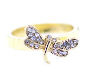 Gold-und-klare-farbige-Libelle-Ring-mit-Kristall-UK-Groesse-Q