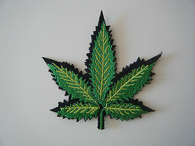 CANNABIS LEAF PATCH Embroidered Iron On Green Skunk Weed Plant Marijuana Pot NEW