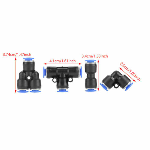 40x 6mm OD 1//4 Inch Plastic Pneumatic Push Connector Set Air Line Quick Fittings