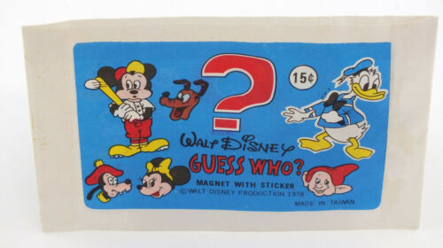 Magnet With Sticker Vintage 1978 New from old dealer stk Walt Disney Guess Who