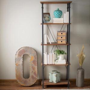 Industrial Rustic Bookcase Vintage Open Bookshelf Wood Metal Office Furniture