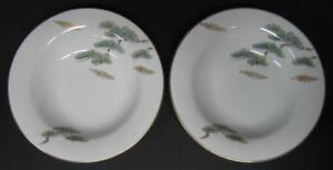 Noritake-Ming-2-rimmed-SOUP-BOWLS-Asian-Bonsai-Branch-5612-Several-Available