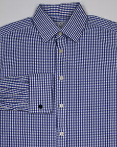 5f79fb62 Image is loading CHARLES-TYRWHITT-Blue-White-Gingham-Check-French-Cuff-