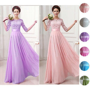 Long-Women-039-s-Chiffon-Evening-Party-Formal-Bridesmaid-Prom-Gown-Dress